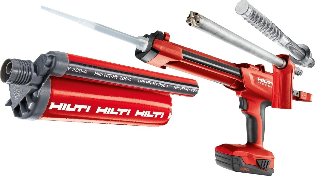 Hilti HIT-HY 200, HDE 500-A22, HIT-Z Anchor rod, TE-YD Hollow drill bit
