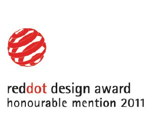 "Questo prodotto è stato insignito del premio ""Honourable Mention"" Red Dot Communication Design Award"